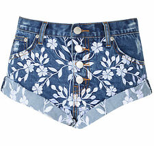 Womens Mid Blue Embroidered Denim Shorts Floral Distressed Summer Hot Pants