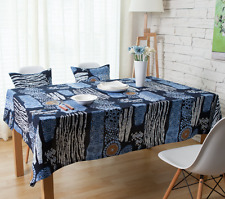 Elegant Blue Sunflower  Coffee Table Cotton Linen Cloth Cover oAUr