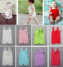 Cute Baby Infant Girls Lace Bowknot Ruffles One-Piece Petti Romper Bodysuit New