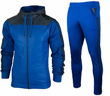 ADIDAS MEN'S FULL ZIP TRACKSUIT TRACK JACKET & PANTS SHINY GLAZE BLUE TAPERED