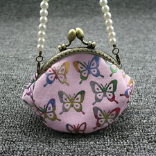 Butterfly Purse Mini Pocket Wallet Card Coin Handbag with Faux Pearl Chain Optim