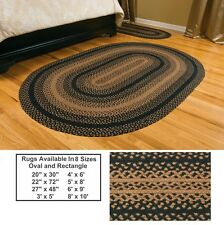 IHF Braided Area Rugs Jute Black Tan Rectangle Oval Country Farmhouse Decor New