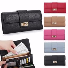 Women Leather Bifold Wallet Clutch Phone Card Holders Purse Lady Long Handbag fd