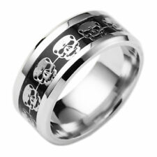 8MM Men Fashion Stainless Steel Punk Rock Skull Black/Silver Band Ring Size 6-13
