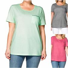 Sheego plus size 18 20 22 24 26 28 Cotton Jersey Top Short Sleeve Pink Mint Grey