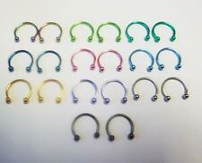 "16g 1/2"" pink blue green gold black purple horseshoe earring hoop ring jewelry 2"