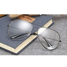 Unisex Clear Transparent Lens Aviator Large Metal Alloy Sunglasses Mens Womens A