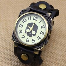 Vintage Black Leather Band Bracelet Quartz Wrist Skull Casual Watch Men Boy Retr