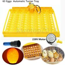 63 Auto Turner Hatch Chicken Duck Quail Bird Eggs Poultry Tray Incubator + Motor