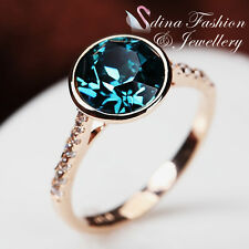 18K Rose Gold GP Made With Swarovski Crystal Round Cut Exquisite Emerald Ring