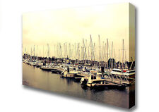 Boat Harbour In France Large Seascape Canvas Print XL (B1 26x40 inch) 08651