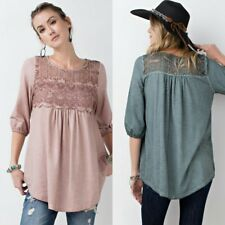 Easel oil-mineral-washed-soft-knit-tunic-top-with-lace-crochet-detail boho s m l