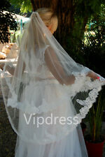 White Ivory Fingertip Length Wedding Veils Lace Applique 2 T Bridal Veils Custom