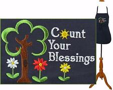 Count Your Blessings Apron Spring Flowers Youth Adult Size Custom Embroidered