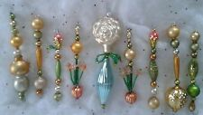 VTG Mercury Glass Bead Garland Icicle Tree Ornaments-White Rose /Tiger Lily