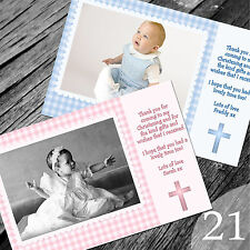 Personalised Photo Boy / Girl CHRISTENING / Baptism / THANK YOU cards (CTY21)