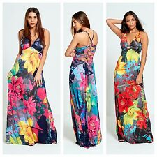 WOMENS LADIES RING PLUNGE V NECK BACK DETAIL SUMMER FLORAL PRINT LONG MAXI DRESS