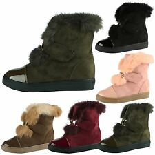 Kellan Womens Low Heel Faux Fur Lined Trim Two Tone Ladies Ankle Boots Shoes New