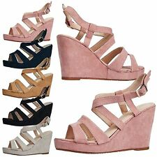 Paula Womens High Wedge Heel Strappy Peep Toe Platform Sandals Ladies Shoes Size