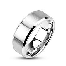 Stainless Steel Men's 8 MM  Beveled Edge Brushed Wedding Band Ring Size 9-13
