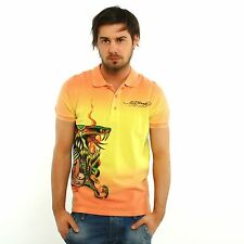 NEW Ed Hardy by Christian Audigier Rhinestones MAN PIQUE snake ombre orange