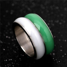 316L Stainless Steel Couple Rings White/Green Wedding Engagement Bands Size 6-13