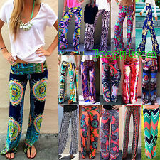 Womens Baggy Harem Pants BOHEMIAN Hippie Wide Leg Gypsy Yoga Palazzo Trouser AU