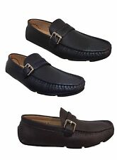 NEW MENS MOCCASIN DESIGNER ITALIAN LOAFERS CASUAL MOCCASIN BOAT Navy Brown SHOES