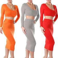 Women's Bandage Two Piece Long Sleeve Crop Top and Bodycon Skirt Party Dress