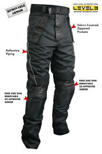 Men's Tri-Tex Fabric and Leather Motorcycle Racing Pants with Level-3 #CF2131