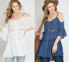S-M-L Cold Shoulder Tiered Tunic Top - Blue or Off White