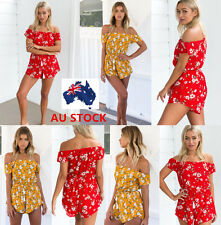 Women Sleeveless Chiffon Off Shoulder Floral Printed Jumpsuit Backless Playsuit