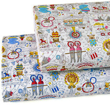 Japanese Fabric Oxford Cotton Fabric Circus Animals From Japan by 1/2 yard