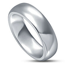 925 sterling silver solid comfort fit plain wedding band 6mm