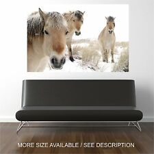 Art Canvas Print Picture Horses in snow winter animal  -Unframed
