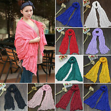 Womens Girls Plain Long Neck Scarf Silk Scarves Wrap Large Voile Stole Shawls