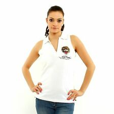 NEW Ed Hardy by Christian Audigier Tiger Women top white sleevless