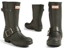 Stunningly Beautiful & Sexy Hunter Low Black Moto Biker Style Rubber Rain Boots