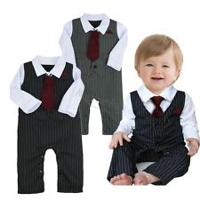 Baby Boy Wedding Formal Dressy Tuxedo Suit Striped Romper Outfit  Set 3-24Months