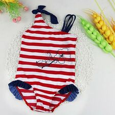 Baby Girl One Piece Swimsuit Toddler Striped Bikini Bathing Holiday Beach Suit