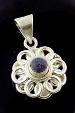 AAA Natural Lapis Lazuli 5mm Round Gemstone 925 Sterling Silver Pendant Jewelry