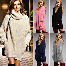 Women Chunky Knit Jumper Pocket Oversize Loose Pullover Sweater Jumpers Dress