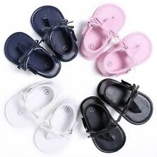 Baby Kid Girls PU Leather Shoes Bow Flip-flops Casual Sandal Slip-On Soft Shoes