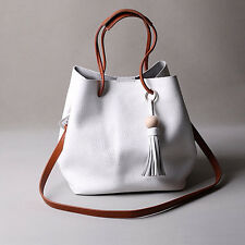 Women Tassel Leather Satchel Handbag Shoulder Tote Messenger Crossbody Bag