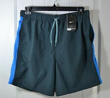 NWT MENS NIKE GRAY BLUE ATHLETIC WATER PROOF SHORTS SZ L