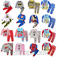 Baby Boys Girl Sleepwear Kid Superhero Mickey Shirt Pants Nightwear Pyjamas Set
