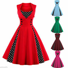Plus Size Vintage Polka Dot 1950s ROCKABILLY Swing Pinup Housewife Retro Dress