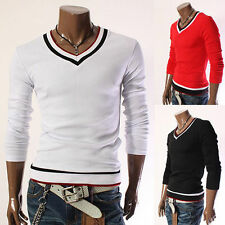 New Fashion Mens T-Shirts Tops Slim Fit V-Neck Basic Tee Long Sleeve T Shirts tr