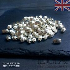 8 x 5mm Silver OR Gold Plated Oval Fluted Bead Finding Decorative Spacer