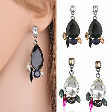 Vintage Women Resin Crystal Water Drop Ear Stud Eardrop Dangle Earring Jewelry
